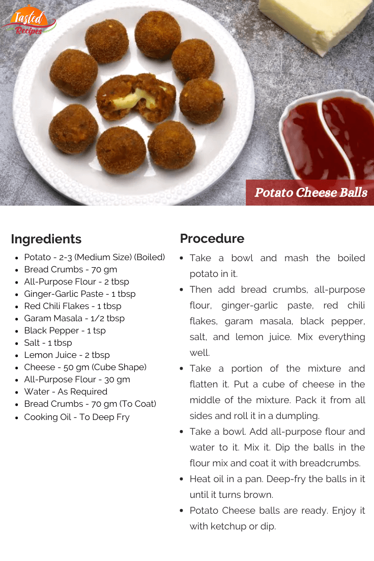 Potato Cheese Balls Recipe Card