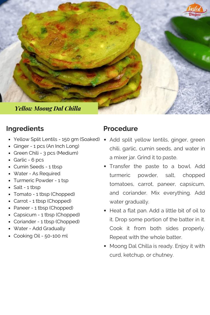 Yellow Moong Dal Chilla Recipe Card
