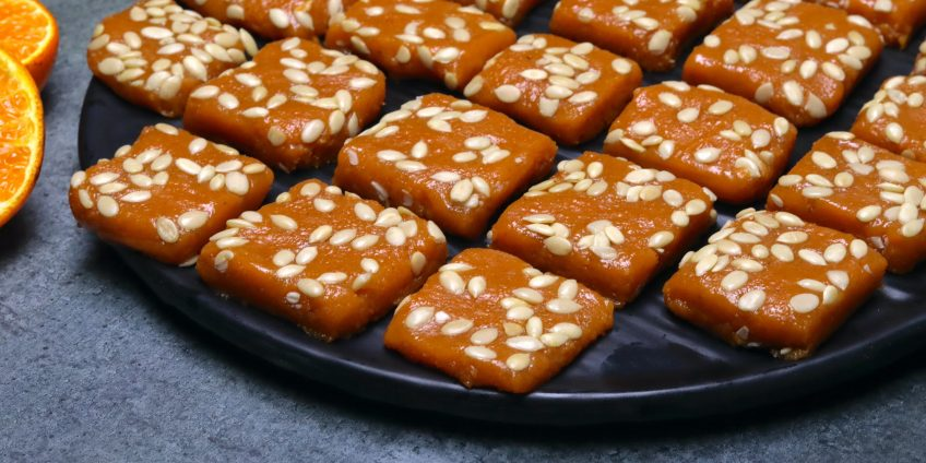 orange mawa burfi