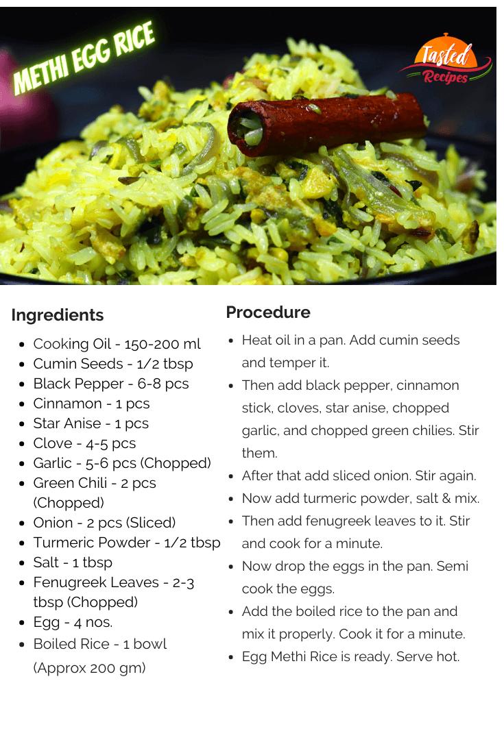 Egg Methi Rice Recipe Card