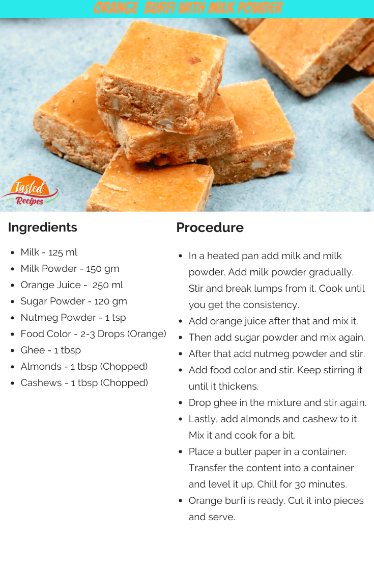 Orange Burfi With Milk Powder Recipe Card