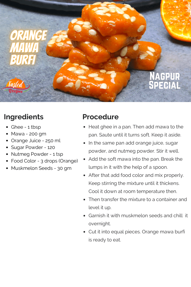 Orange Mawa Burfi Recipe Card