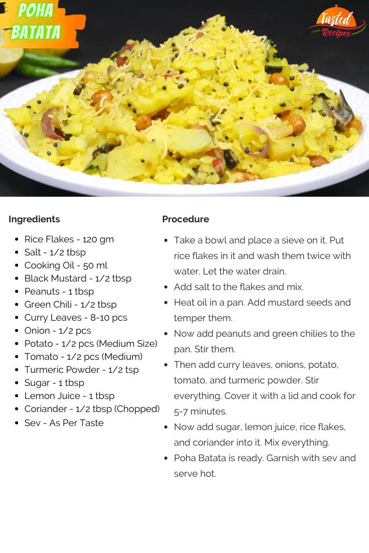 Poha Batata Recipe Card
