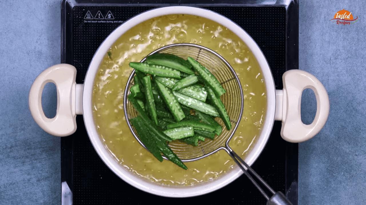Green Garlic Bhindi step-1