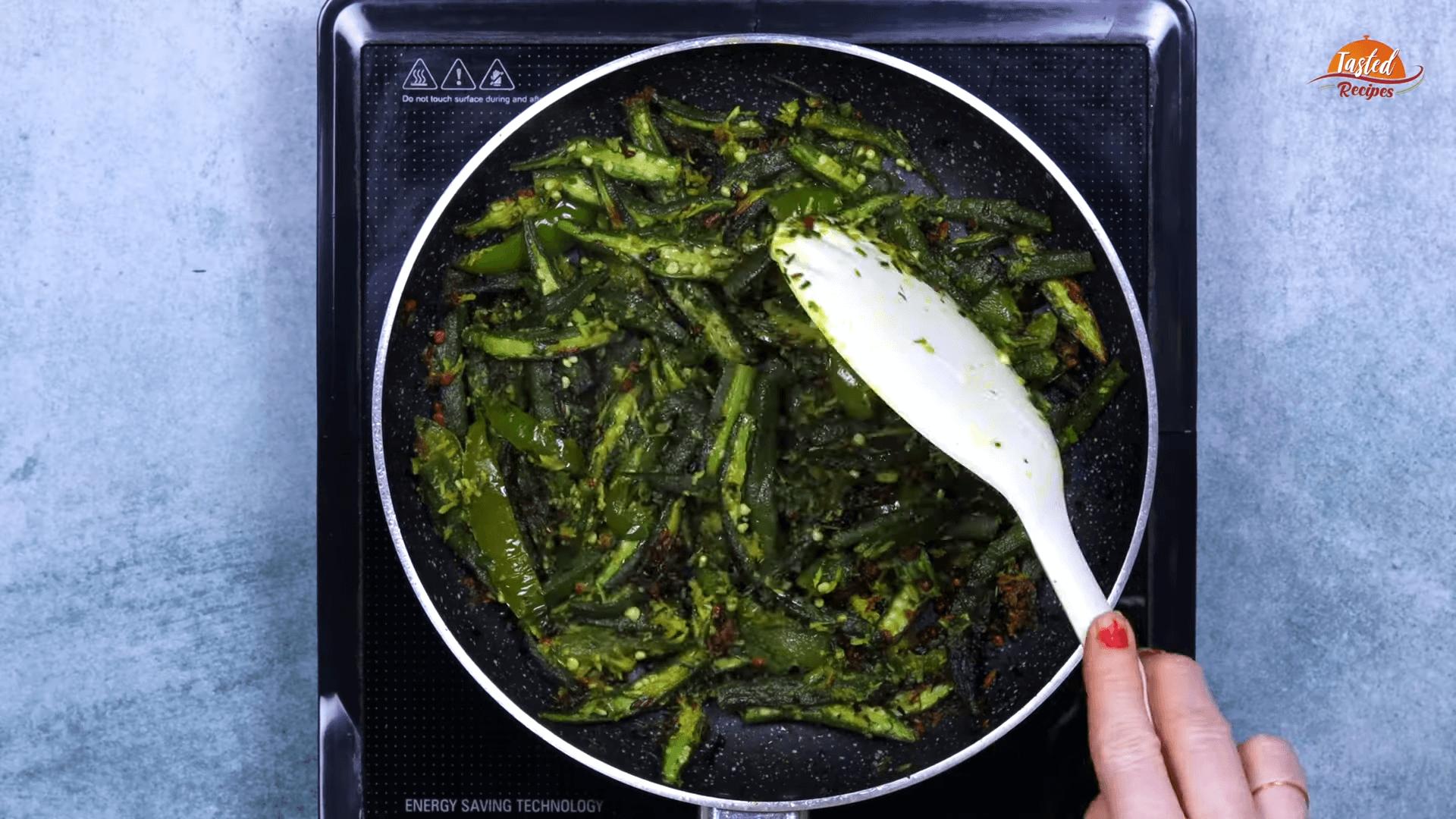 Green Garlic Bhindi step-6