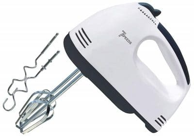 DREAMZONE ZOXBER Speed Hand Mixer with 4 Pieces Stainless Blender, Bitter for Cake Cream Mix, Food Blender, Beater for Kitchen (White, 200 watts)