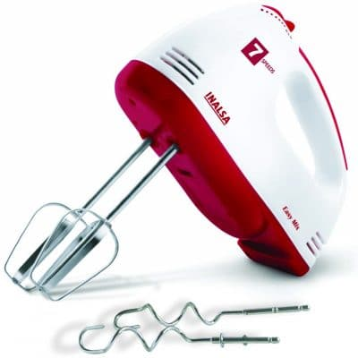 Inalsa Hand Blender Hand Mixer Beater - Easy Mix, Powerful 250 Watt Motor Variable 7 Speed Control 1 Year Warranty (White Red)