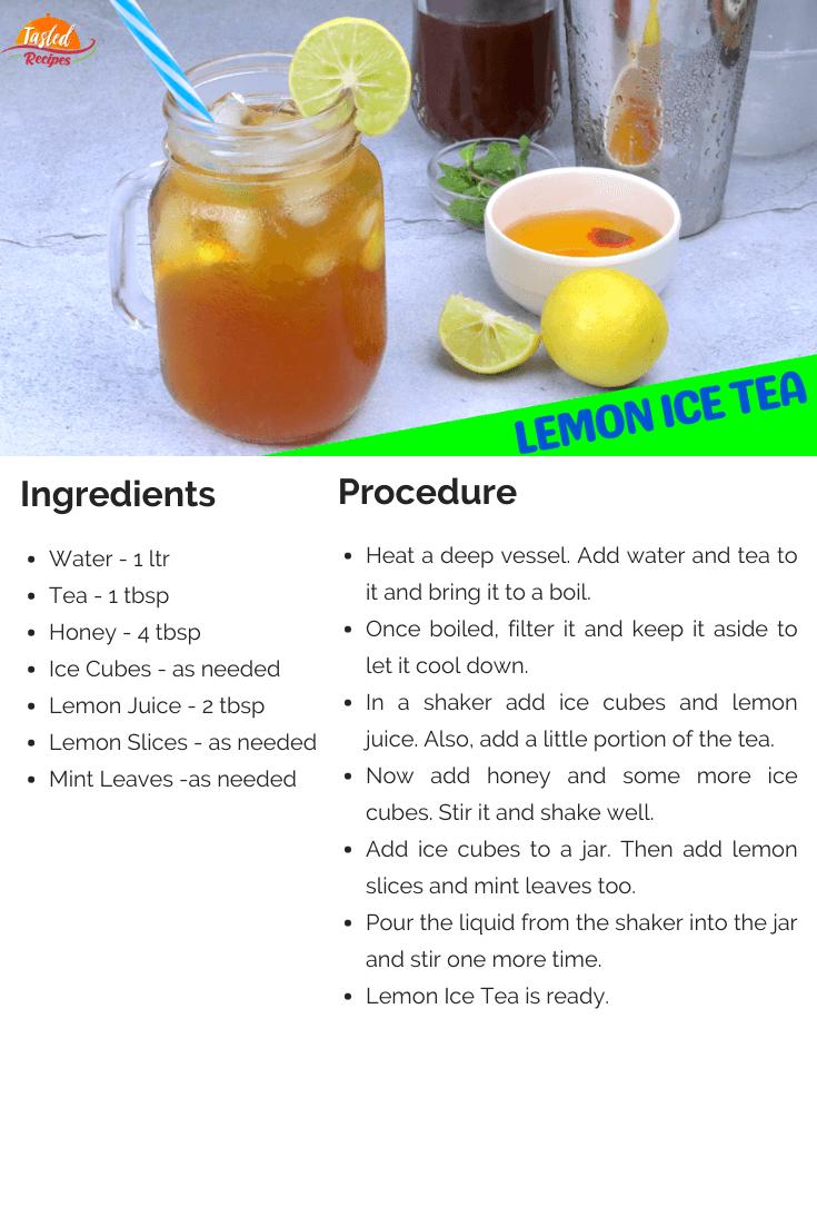 Lemon Ice Tea Recipe Card
