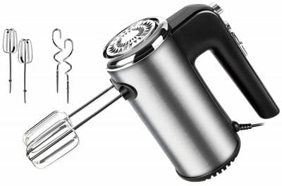 Skytone 300-Watt Hand Mixer Beater Blender Electric Cream Maker for Cakes with Base 5 Speed Control 2 Stainless Steel Beaters 2 Dough Hooks With Stand (Mediam)